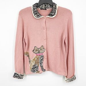 Michael Simon Embroidered Cat Cardigan Sweater L